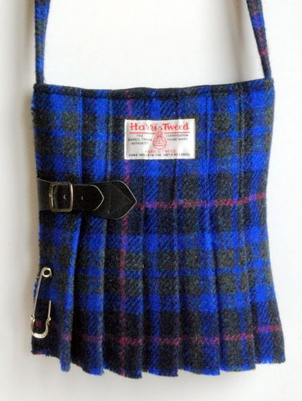 Harris Tweed Kilt Bag in a Blue Tartan with Red Stripes No13